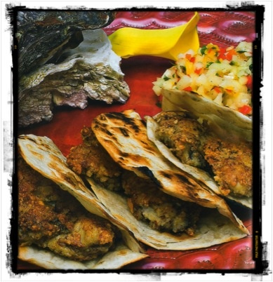 Almond Crusted Oyster Tacos at Hotel California #LosCabos #Delicious
