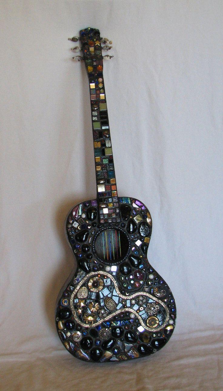 Mosaic guitar pretty for music decor find cheap guitar for Acoustic guitar decoration ideas