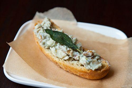 Walnut Gorgonzola Crostini with Crumble Fried Sage | Recipe