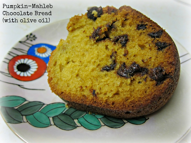 Pumpkin, mahlepi, chocolate olive oil bread http://www.bananawonder ...