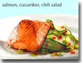 Salmon with Cucumber Chili Salad... I think I will grill the salmon instead.