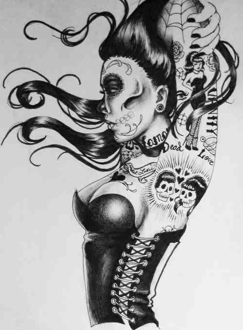 Pin Up Girl Drawings Tumblr Day of the dead pin up girl :)