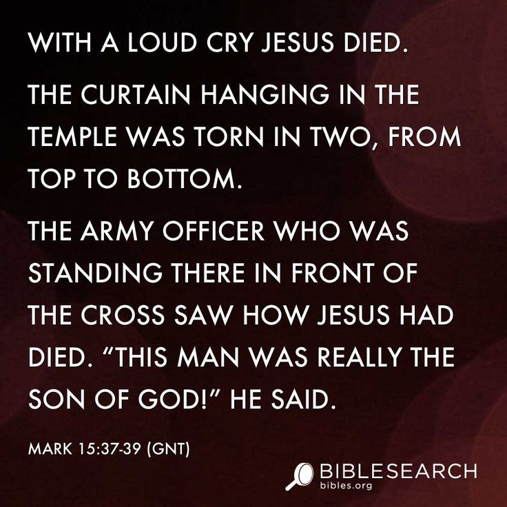 With a loud cry Jesus died. The curtain hanging in the Temple was torn ...