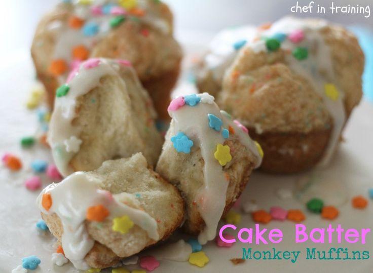 Cake Batter Monkey Muffins!