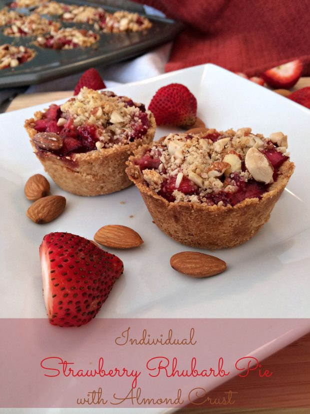 Individual Strawberry Rhubarb Pie with Almond Crust