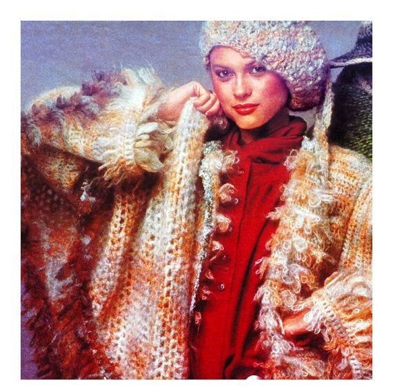 1970s Crochet Pattern Faux Fur Reversible Coat Shawl Hat Beret Digita ...