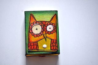 Too cute!!! Owl matchbox with mini book of owls and small knick-knacks in it....