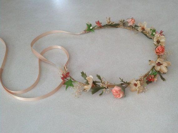 Peach Wedding Flower Girl Halo Woodland Bridal Floral Crown Spring