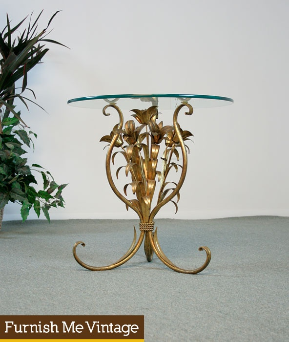 Retro Italian Gilded Bouquet End Table