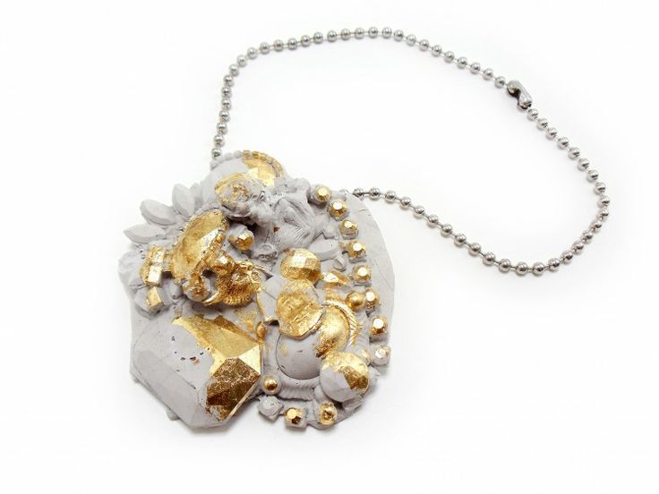 "Tara Locklear, ""Concrete Costume Cluster Necklace 1,"" 2011. Cement, steel, faux gold leaf. Photo by Tara Locklear."