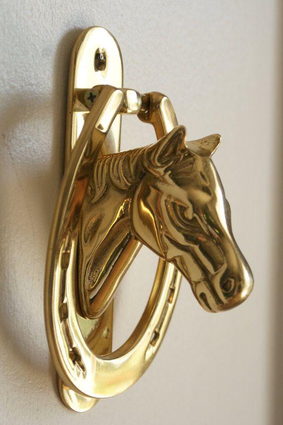 Equestrian door knocker brass home detail horse door - Horse door knocker ...