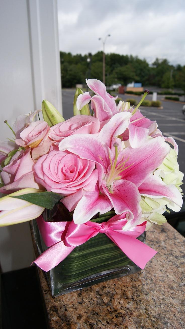 Girls baptism flower arrangement pinterest