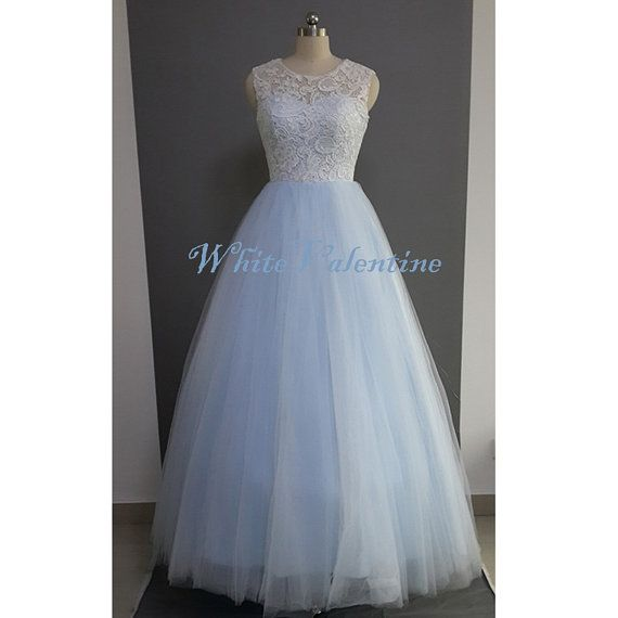 Long ivory lace sky blue wedding dress lace reception for Long dress for wedding reception