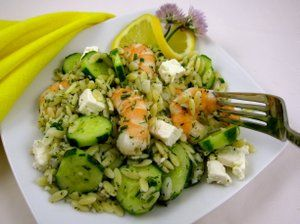 Orzo with Shrimp, Cucumbers and FetaPeggy Lampman | Contributor