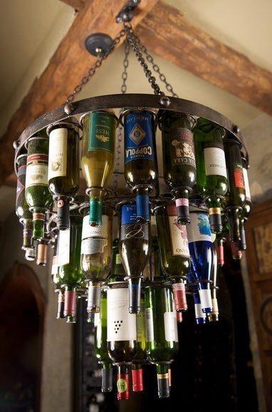 Wine bottles, light fixture - fabulous!  diy  Pinterest