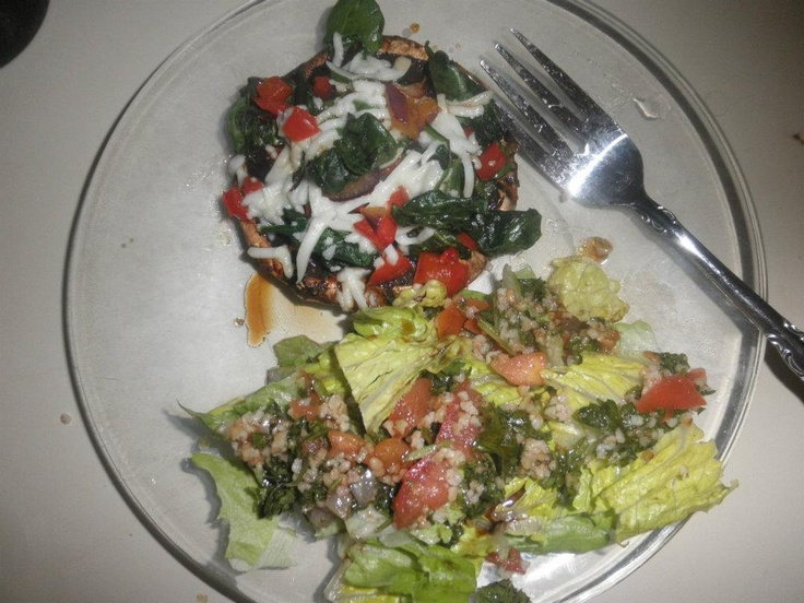 grilled portabella mushroom with sauteed veggies & salad topped with ...