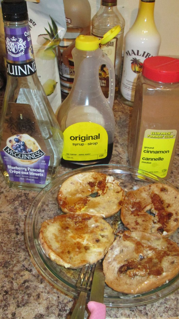 Cinnamon raisin and blueberry bagel french toast