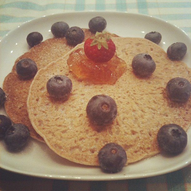 Saturday whole wheat pancakes w/ blueberries & ginger jam. # ...