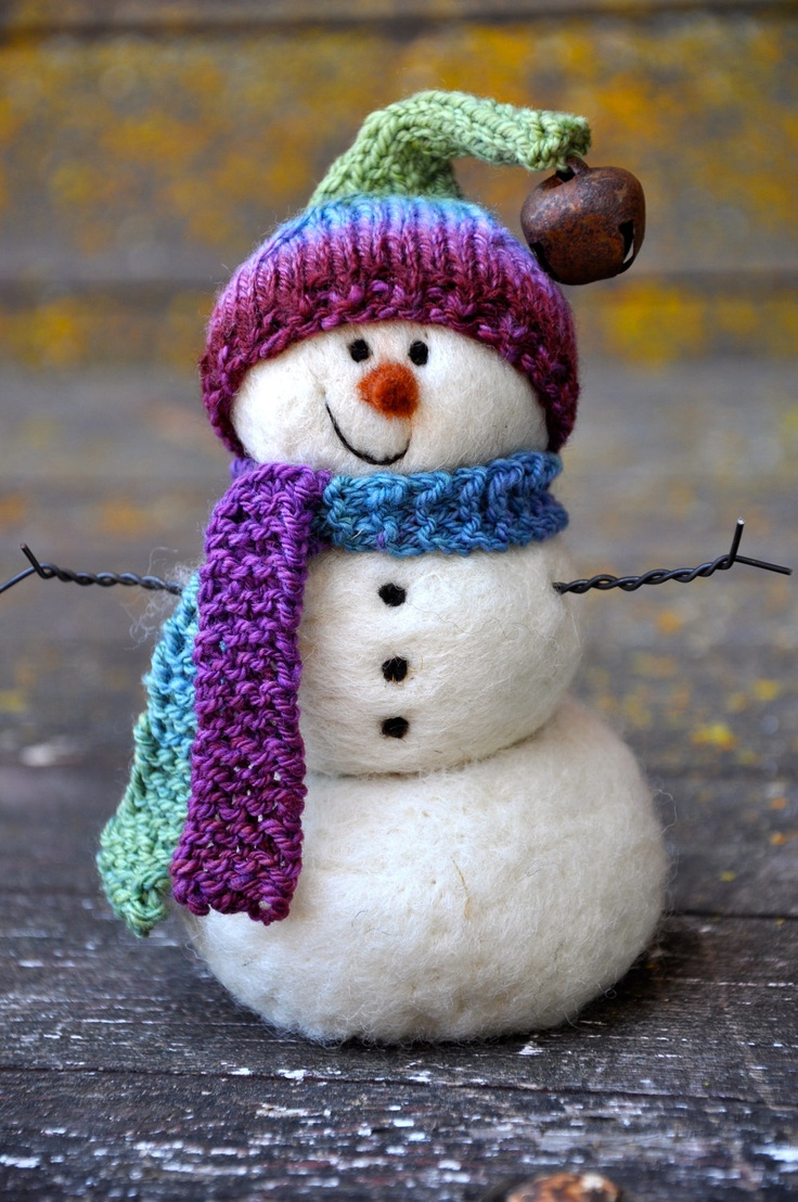 Needle Felted wool Snowman - #holiday #decor