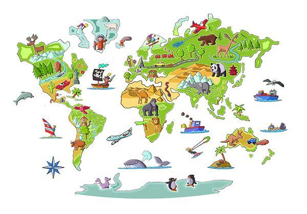 Vinilos infantiles mapa mundi habitaciones infantiles - Vinilos mapa mundi ...