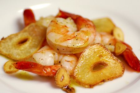 Garlic Roasted Shrimp with Red Chile Oil, from Love and Olive Oil