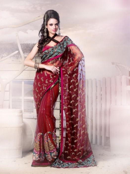 Stylish Dark Red Color Saree | Sarees : Red|Black|White|Gold|Gray | P ...