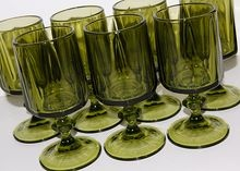 1970s Colony Nouveau ~ 8 Gothic Smoky Green Wine Goblets at rubylane.com