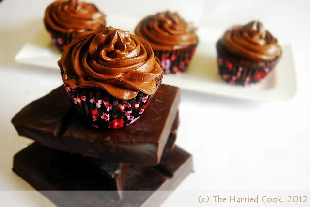 The Harried Cook: Moist Chocolate Cupcakes w/ Whipped Ganache Frosting