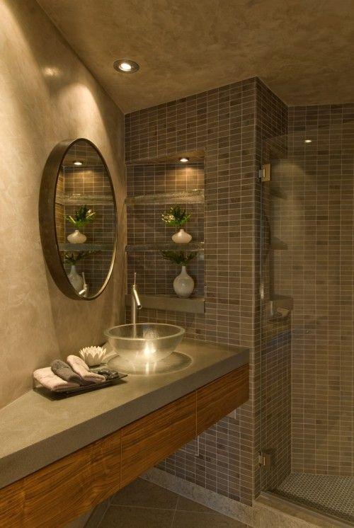 Concrete bathroom counter for basement house bathroom for Concrete bathroom ideas