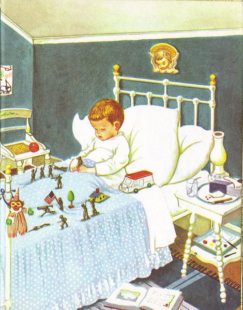 Illustration by Eloise Wilkin ~ This reminds me of the poem by Robert Louis Stevenson, Land of Counterpane: Here is the first verse: When I was sick and lay a-bed, I had two pillows at my head, and all my toys beside me lay, to keep me happy all the day.