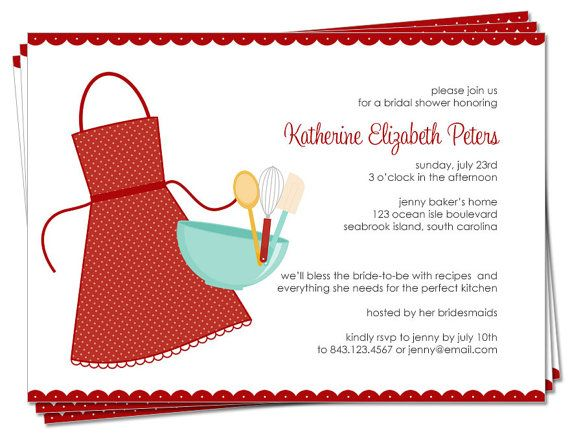 ... SET - Bridal Shower Invitation and Matching Recipe Cards (Kiss the