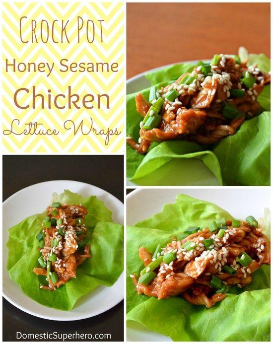 Crock Pot Honey Sesame Chicken Lettuce Wraps -- my notes, really good ...