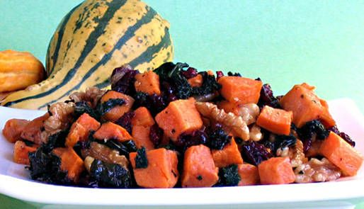 Recipe: Roasted Sweet Potatoes with Shallots and Crispy Kale Ribbons ...