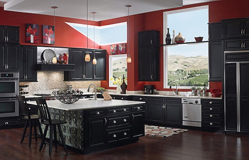 Red And Black Kitchen House Inspiration Kitchen Pinterest