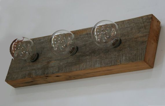 Vanity Light Bar Wood : Vanity Light Fixture - Reclaimed Poplar Barnwood