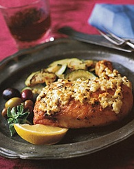 Roasted chicken with lemon, oregano and feta cheese. Pair with Jones ...