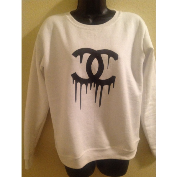 Dripping chanel logo hoodie gray cardigan sweater for Chanel logo t shirt to buy