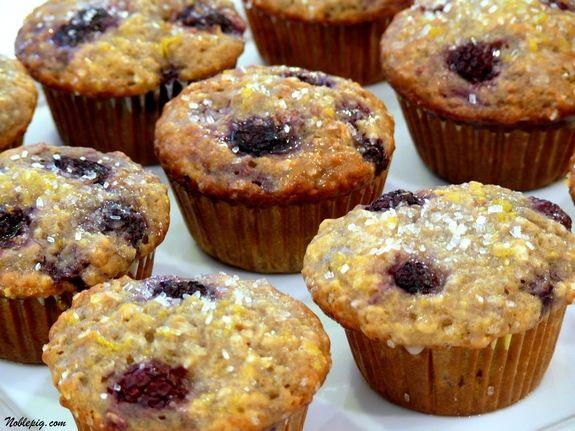 Lemon Blackberry Muffins with Lemon Glaze