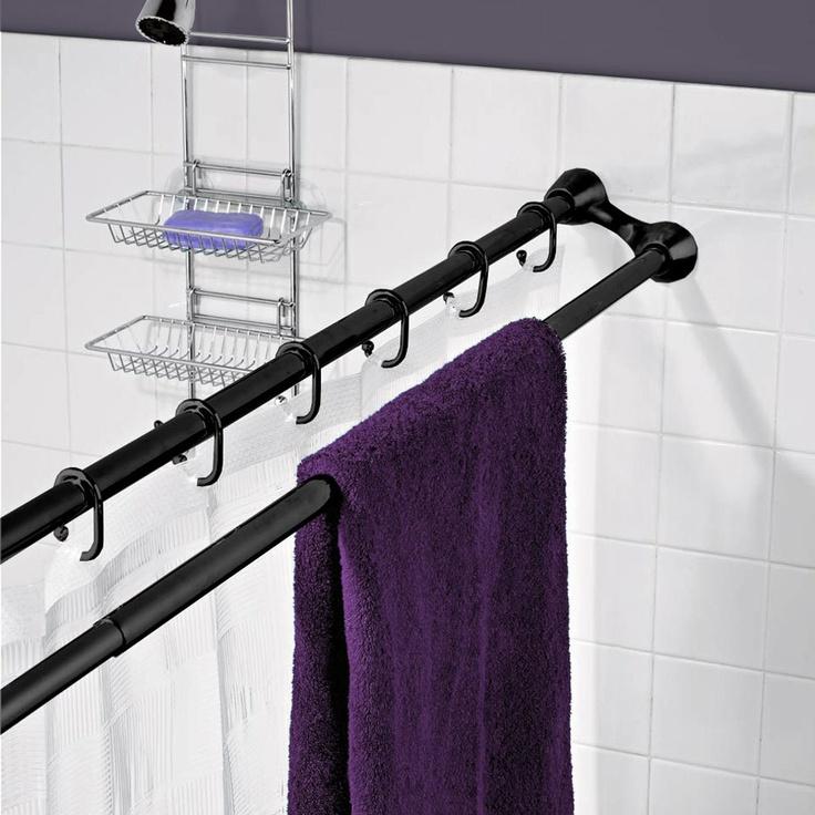 Teagan Dual Shower Curtain Rod In Black