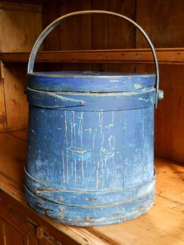 Antique firkin, original old blue paint