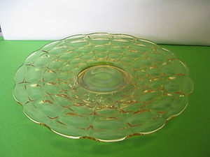 "Indiana Glass Tiara Exclusives Yellow Mist Constellation 13 ½"" Serving Platter"