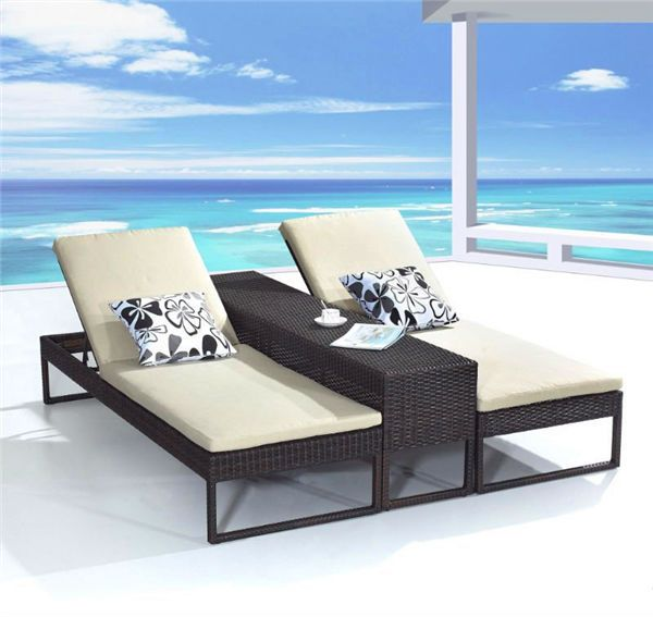 Hotel Pool Furniture Lounge Chair Double Beach Bed