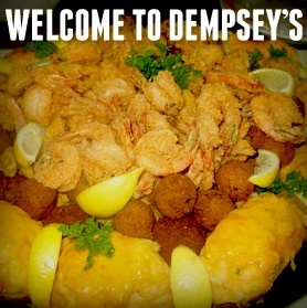 Shrimp & Catfish party tray. Comes with Stuffed Potatos, Hush Puppies ...