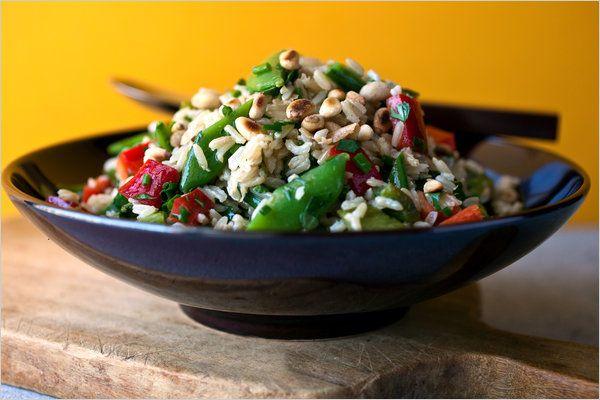 Poblano & Sugar Snap Pea Basmati rice Salad (with cilantro, chives ...
