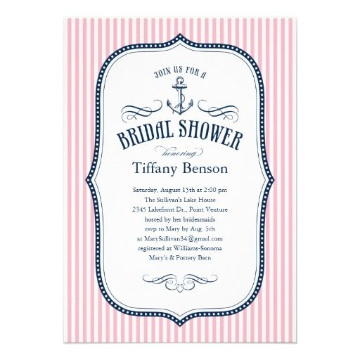 Nautical bridal shower invitations featuring a boat anchor and a ...