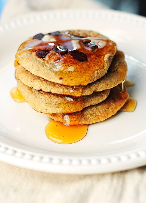 Oatmeal Chocolate Chip Banana pancakes from @Amy Johnson / She Wears ...