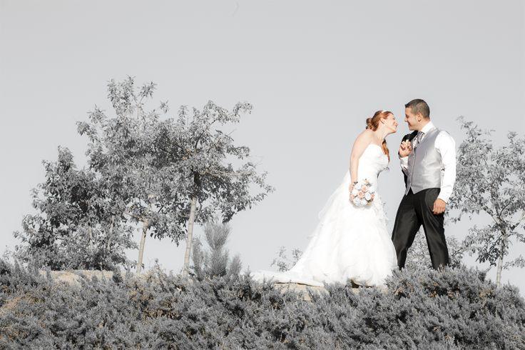 Fotografía de boda en la que hemos resaltado a los novios apagando los tonos del cielo y naturaleza.