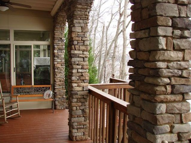 stone porch posts house exterior pinterest