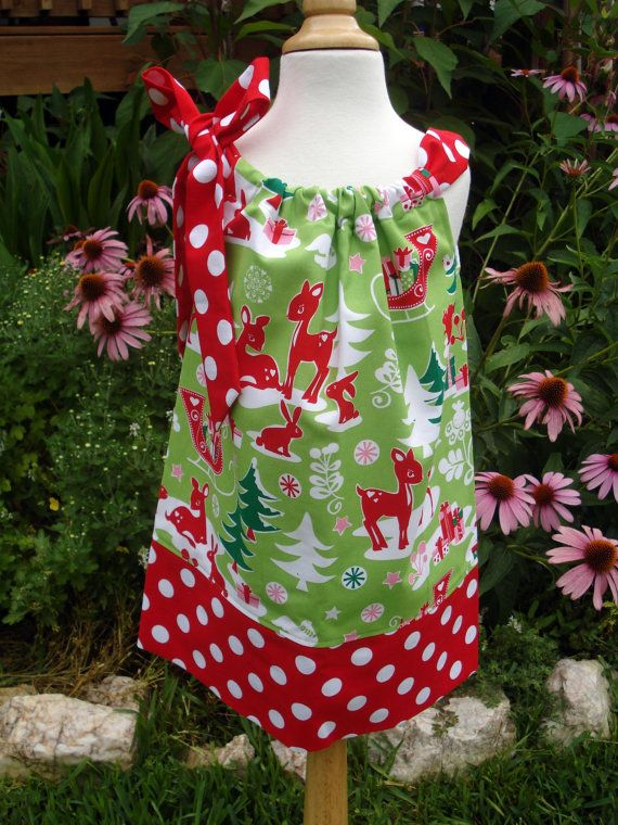 Girls christmas pillowcase dress yule critters sizes 6 9 month 4t by
