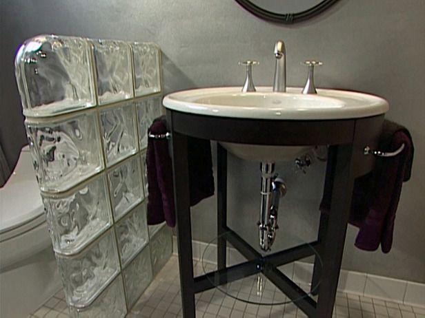 Bathroom Pedestal Sink: Installing the Sink and Glass Block